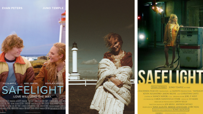Actor Evan Peters, and Actress Juno Temple in promotional posters for Safelight.